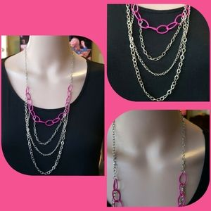 Jewelry - Silver & Pink multi strand necklace